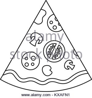 300x320 Pizza Slice Line Icon, Outline Sign, Linear Symbol, Vector, Flat