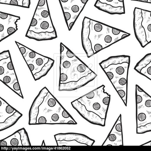 512x512 Seamless Pizza Slice Vector Background Vector