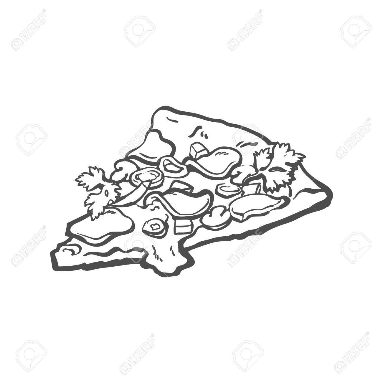 1300x1300 Vector Sketch Pizza Slice. Fast Food Cartoon Isolated Illustration