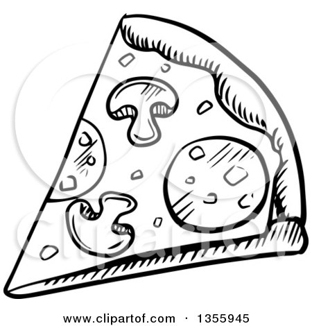 450x470 Clipart Of A Black And White Sketched Pizza Slice