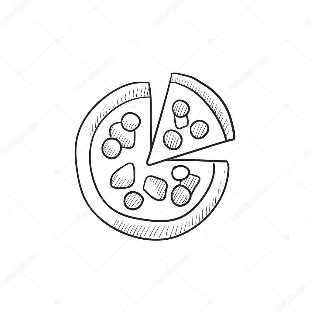 1024x1024 Whole Pizza With Slice Sketch Icon. Stock Vector Rastudio