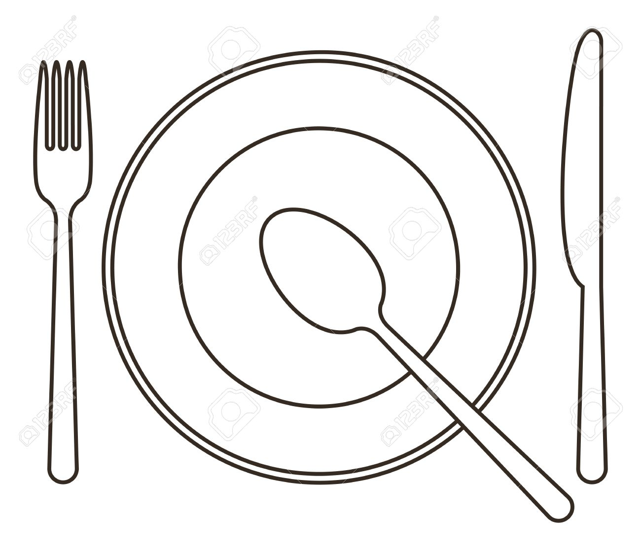 1300x1118 Place Setting With Plate, Knife, Spoon And Fork Royalty Free