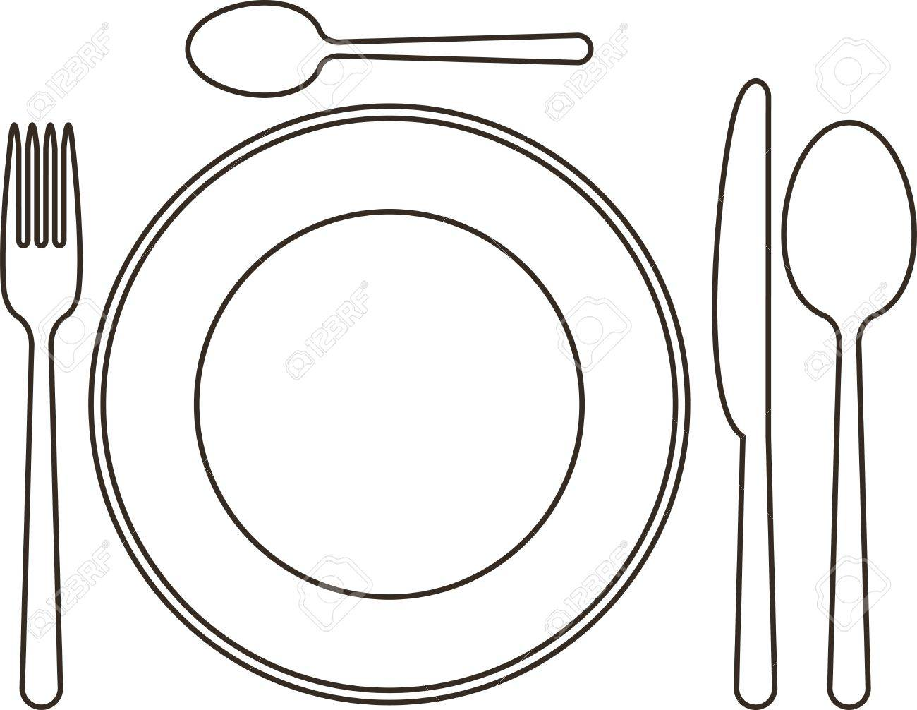 1300x1006 Place Setting With Plate, Knife, Spoons And Fork Royalty Free