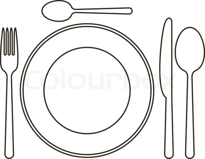 800x620 Place Setting With Plate, Knife, Spoons And Fork Stock Vector