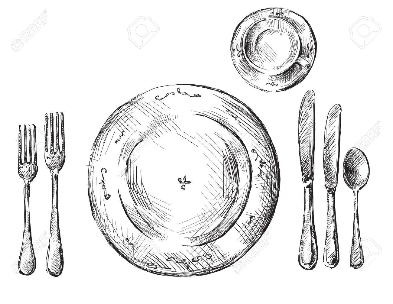 1300x1006 Table Setting Royalty Free Cliparts, Vectors, And Stock