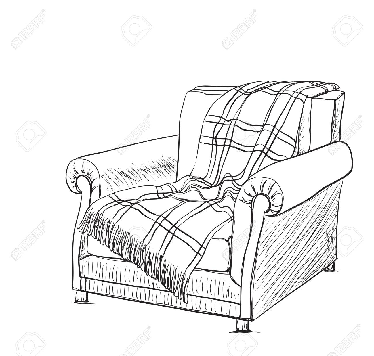 1300x1238 Chair Sketch Style Vector Illustration. Plaid On The Chair Royalty
