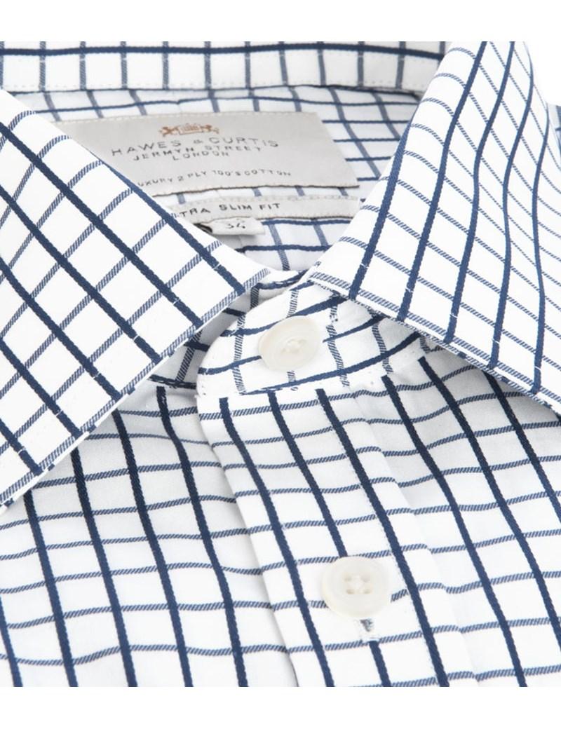 800x1040 Men's Navy Amp White Medium Plaid Extra Slim Fit Shirt