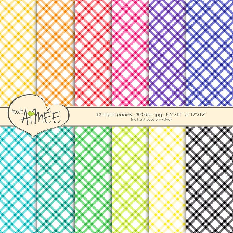 800x800 Plaid Pattern Digital Scrapbook Paper, Printable Paper In Bright