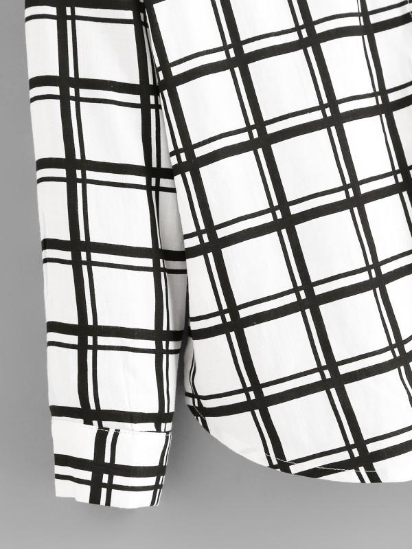 600x799 Single Pocket Roll Tab Sleeve Grid Shirt Shein(Sheinside)