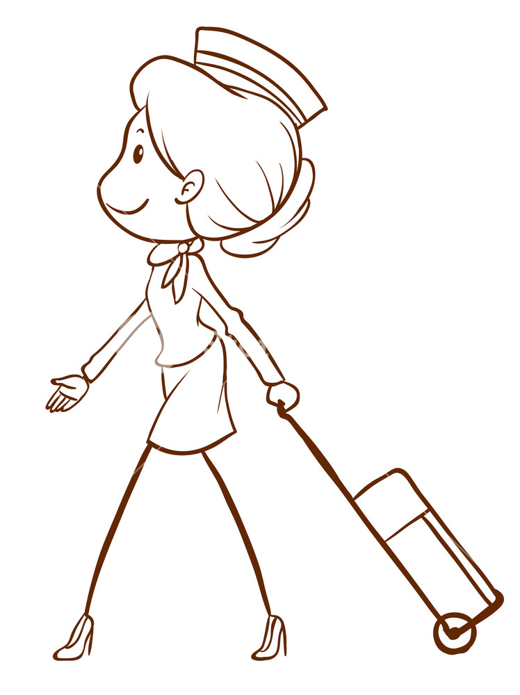 748x1000 A Plain Drawing Of An Air Hostess On A White Background Royalty