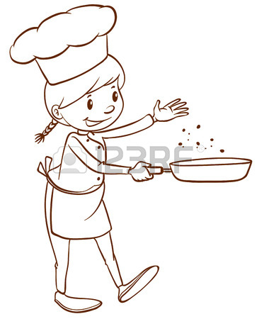 363x450 A Plain Drawing Of A Female Chef On A White Background Royalty