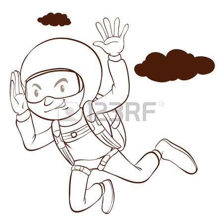 448x450 A Plain Drawing Of A Man Skydiving On A White Background Royalty