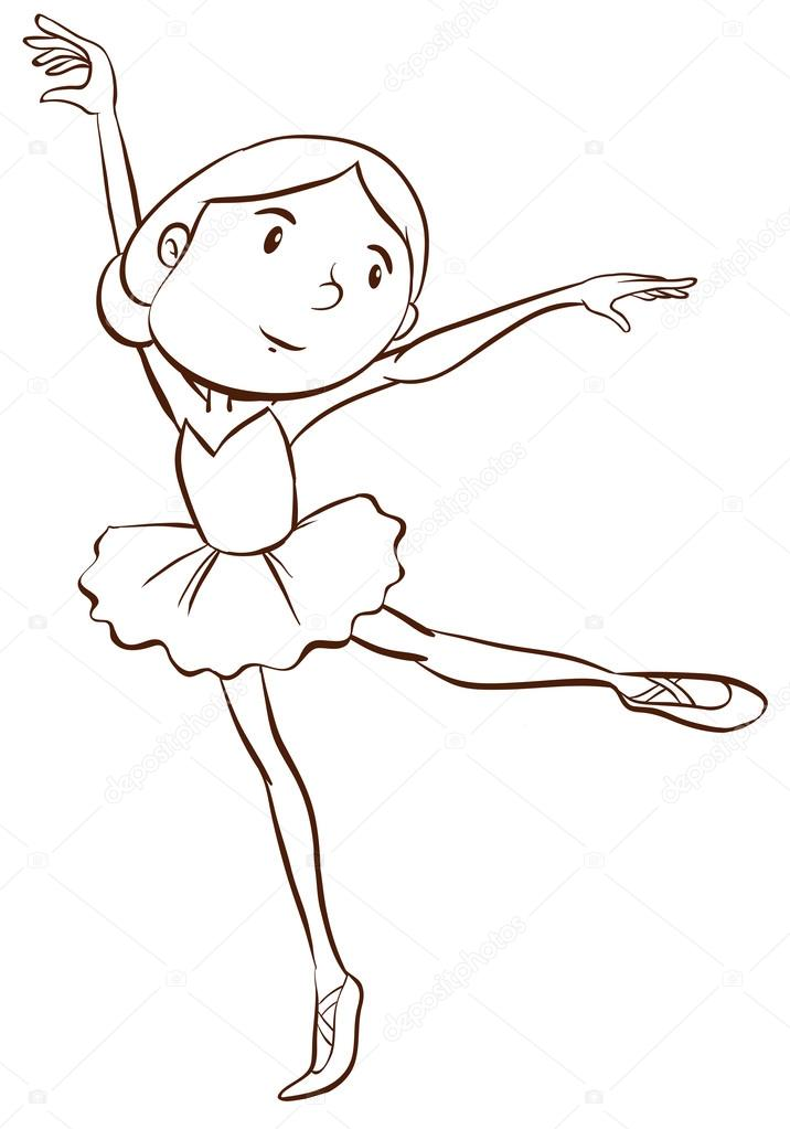 716x1023 A Plain Drawing Of A Ballerina Stock Vector Blueringmedia