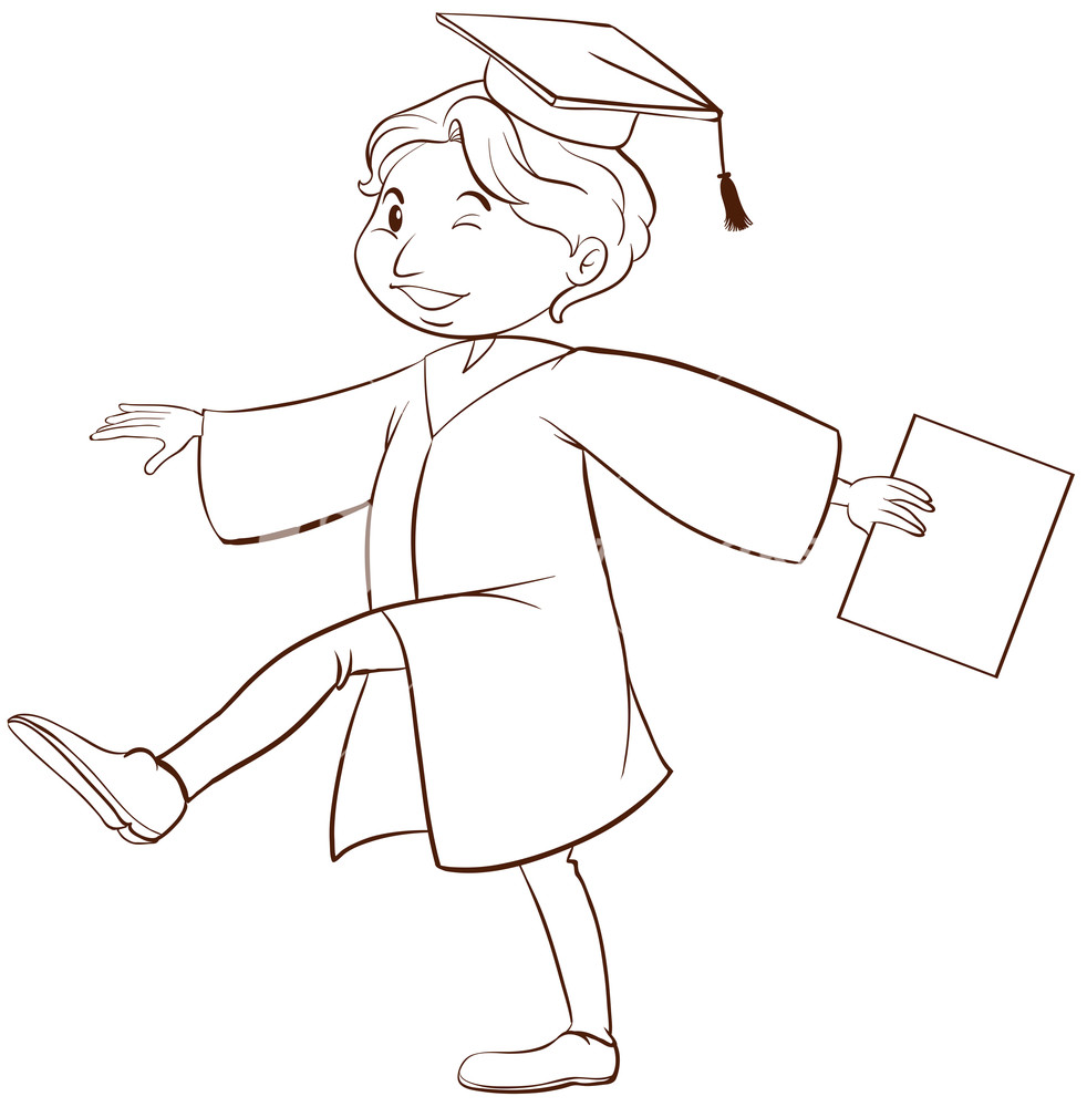 982x1000 A Plain Drawing Of A Person Graduating On A White Background