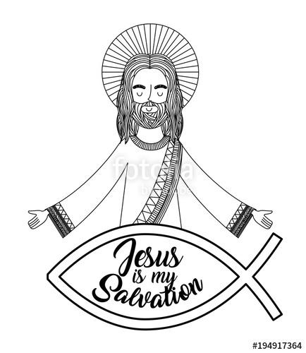 434x500 Jesus Is My Salvation Praying Hand Drawing Vector Illustration