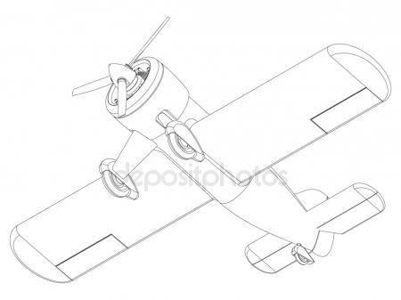 450x337 Plane Drawing Stock Vector Gorbovoi81