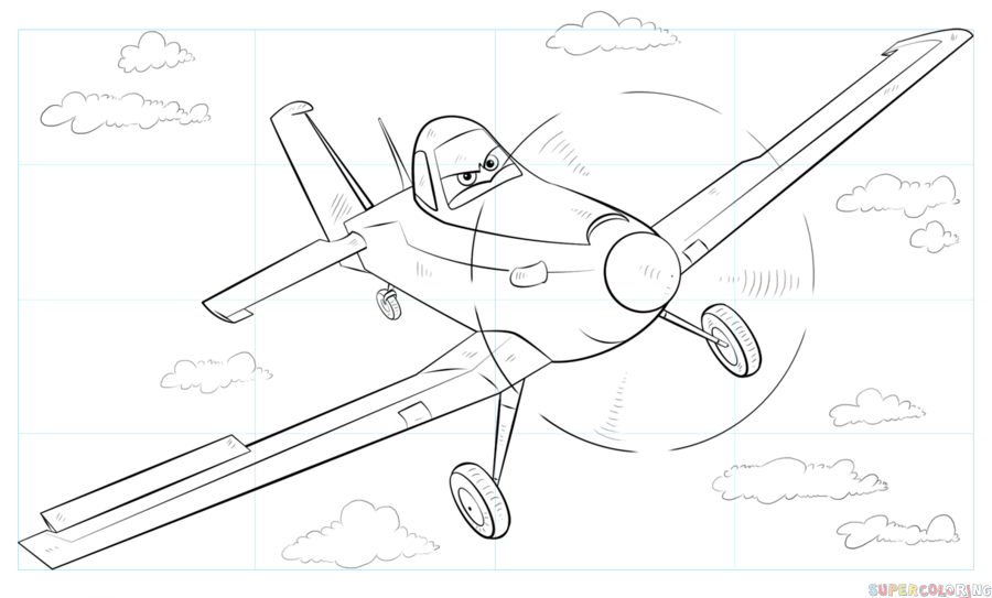 900x543 How To Draw Dusty Crophopper From Disney Planes Step By Step