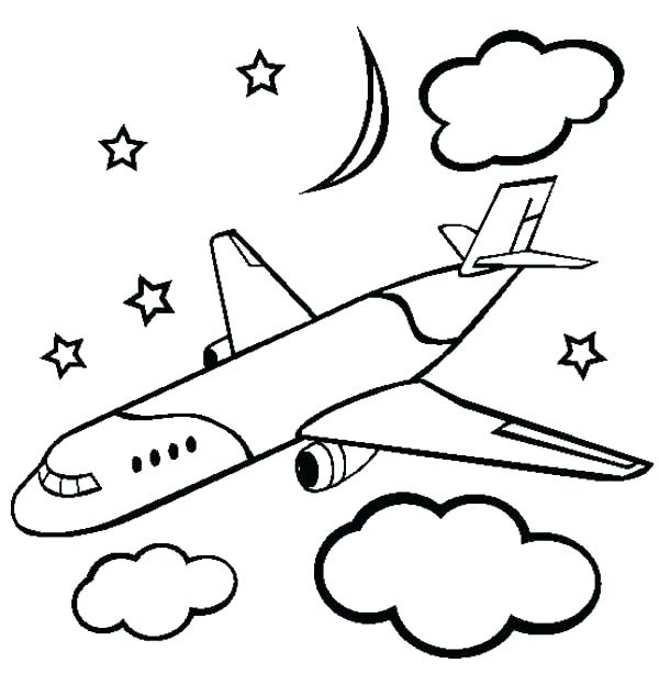 600x612 Minimalist Airplane Coloring Pages Fee Free Printable For Kids
