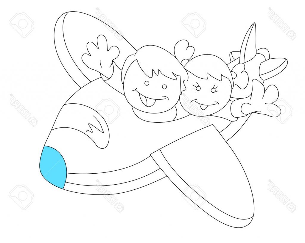 1024x816 Sketch Drawing For Kids Happy Kids In Plane Sketch Royalty Free