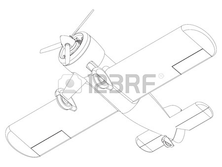 450x338 Isolated Propeller Plane Drawing. Clip Art Royalty Free Cliparts