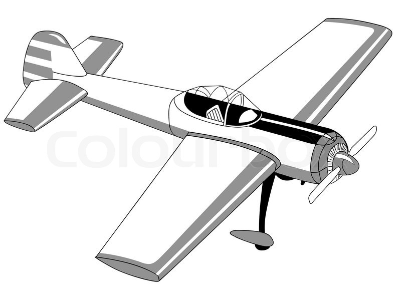 800x593 Plane Drawing On White Background Stock Vector Colourbox