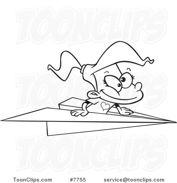 581x600 Cartoon Black And White Line Drawing Of A Girl Flying In A Paper