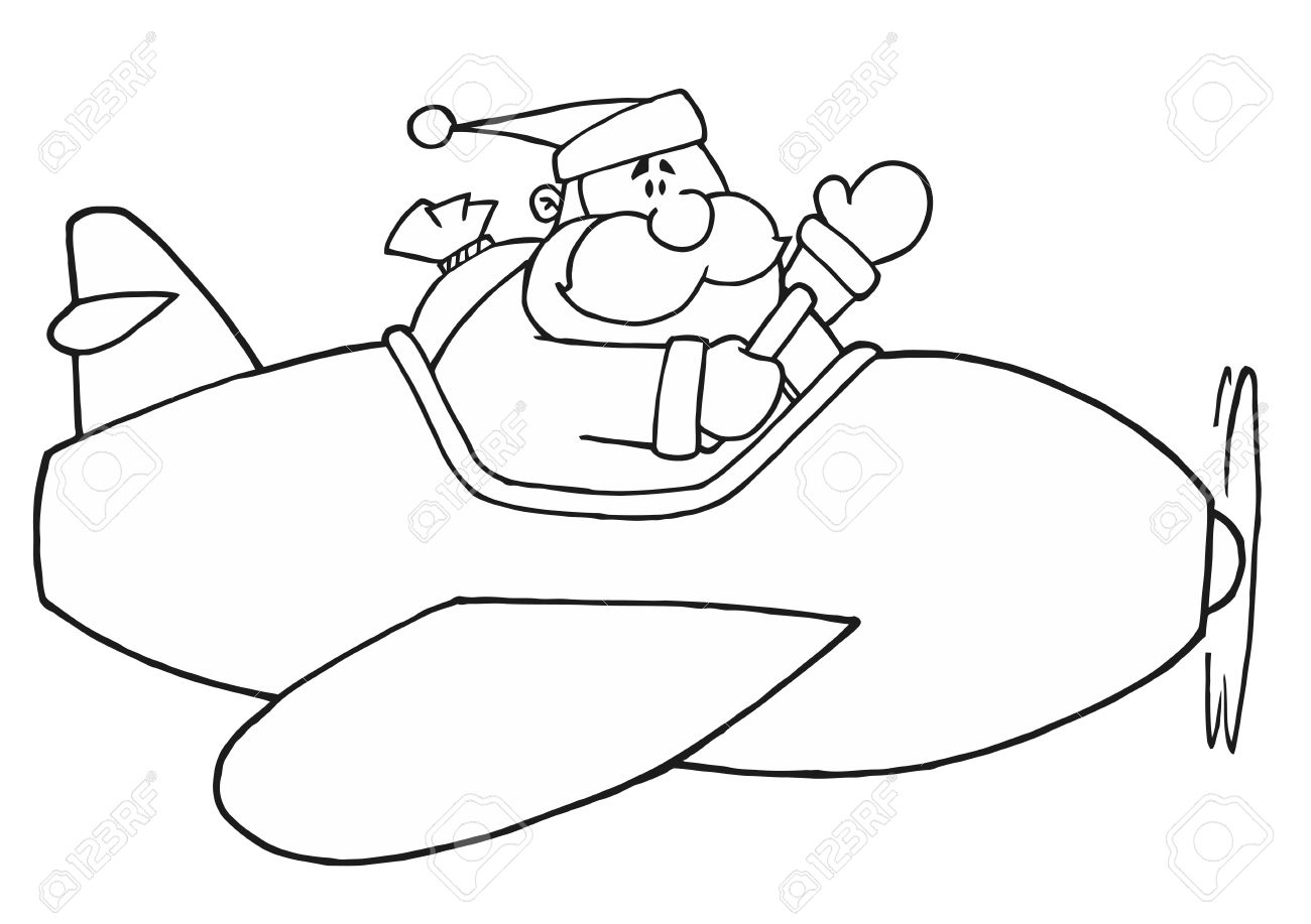 1300x917 Black And White Coloring Page Outline Of Santa Flying A Plane