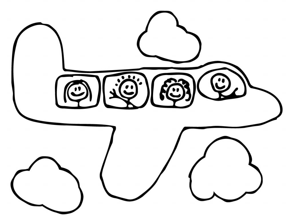1024x768 Cartoon Drawings Airplanes Airplane Cartoon Outline Stock Photos