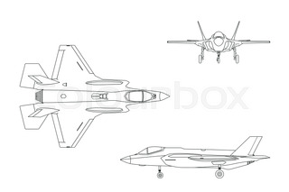 320x213 Drawing Of Military Aircraft. Top, Side, Front Views. Fighter Jet