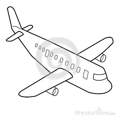 400x400 Lovely Plane Cartoon Drawing Airplane Cartoon Outline Vector Stock