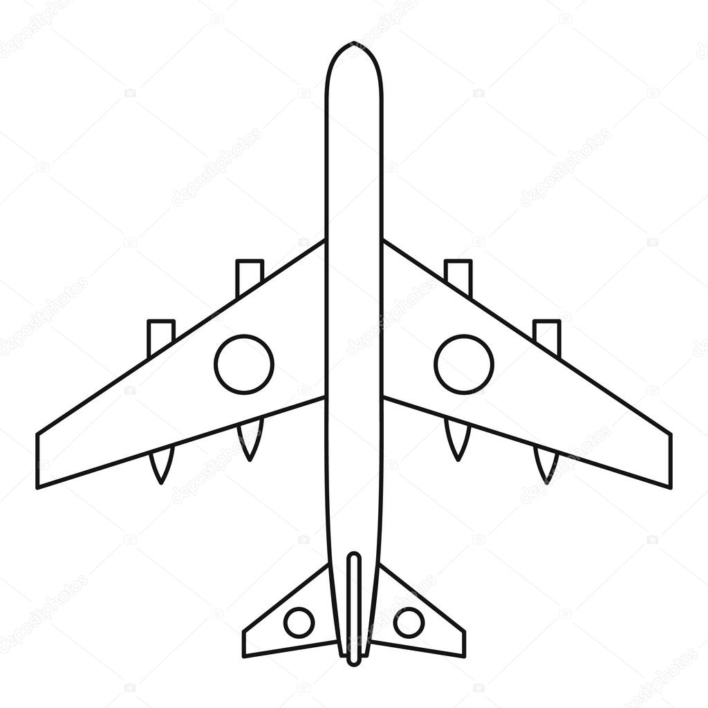 1024x1024 Military Fighter Plane Icon, Outline Style Stock Vector