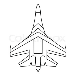 320x320 Military Fighter Plane Icon. Outline Illustration Of Military