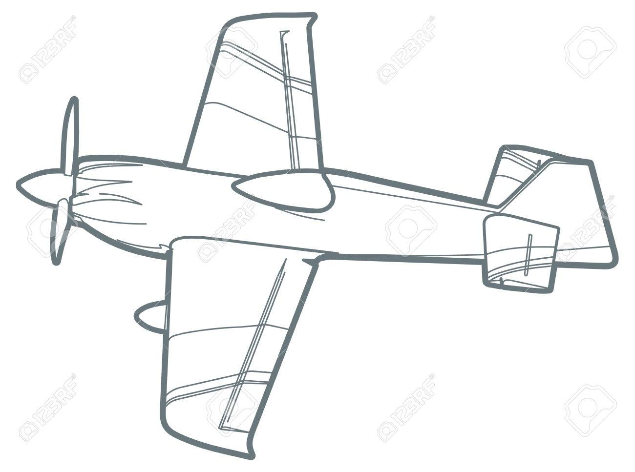 1300x967 Outline Sport Plane With Propeller. Small Airplane Stock Photo
