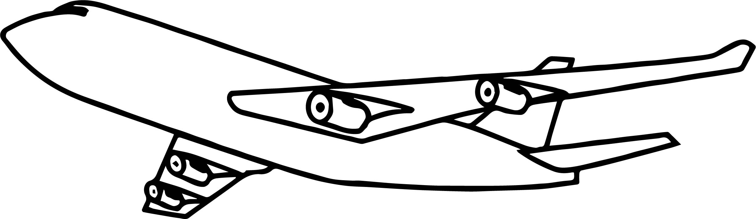 2451x711 Airplane Outline Coloring Page Wecoloringpage