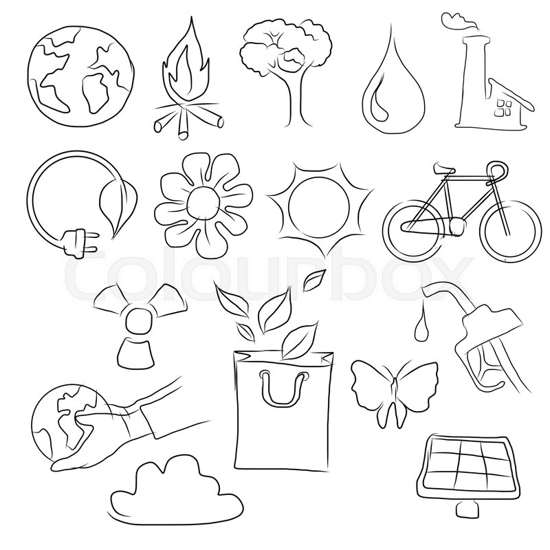 800x800 Eco Friendly Concept Vector Illustration, Hand Drawing Icon