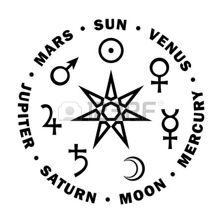 450x450 Astrology Alphabet Mercury (Caduceus), Classic Minor Mental