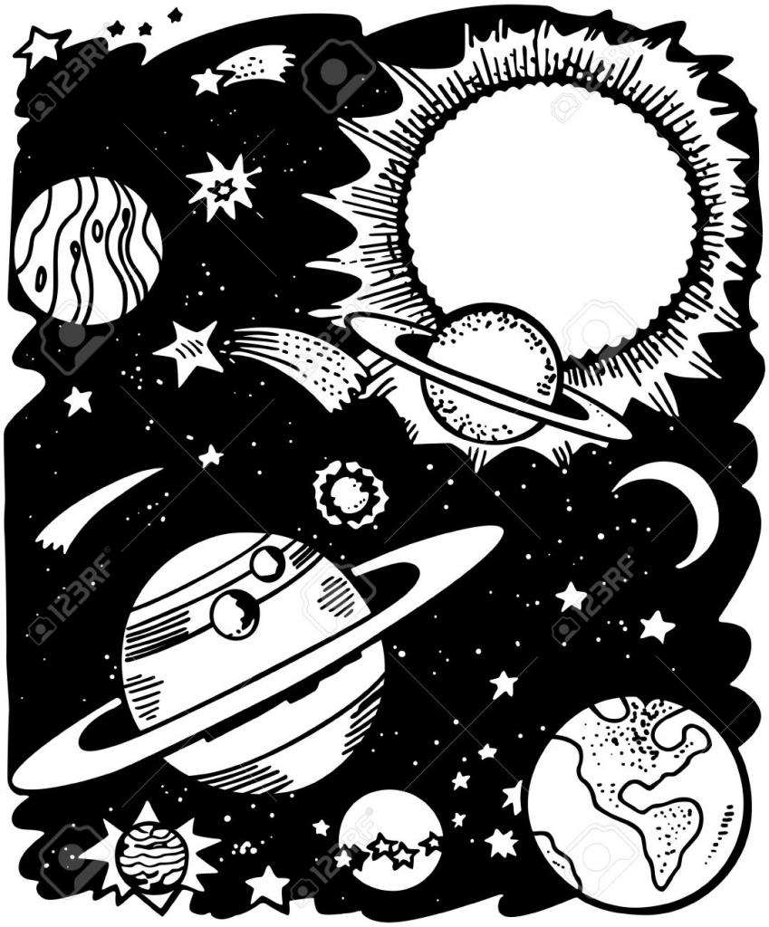 849x1024 Outer Space Drawing Drawing Outer Space Panorama Planets Stars