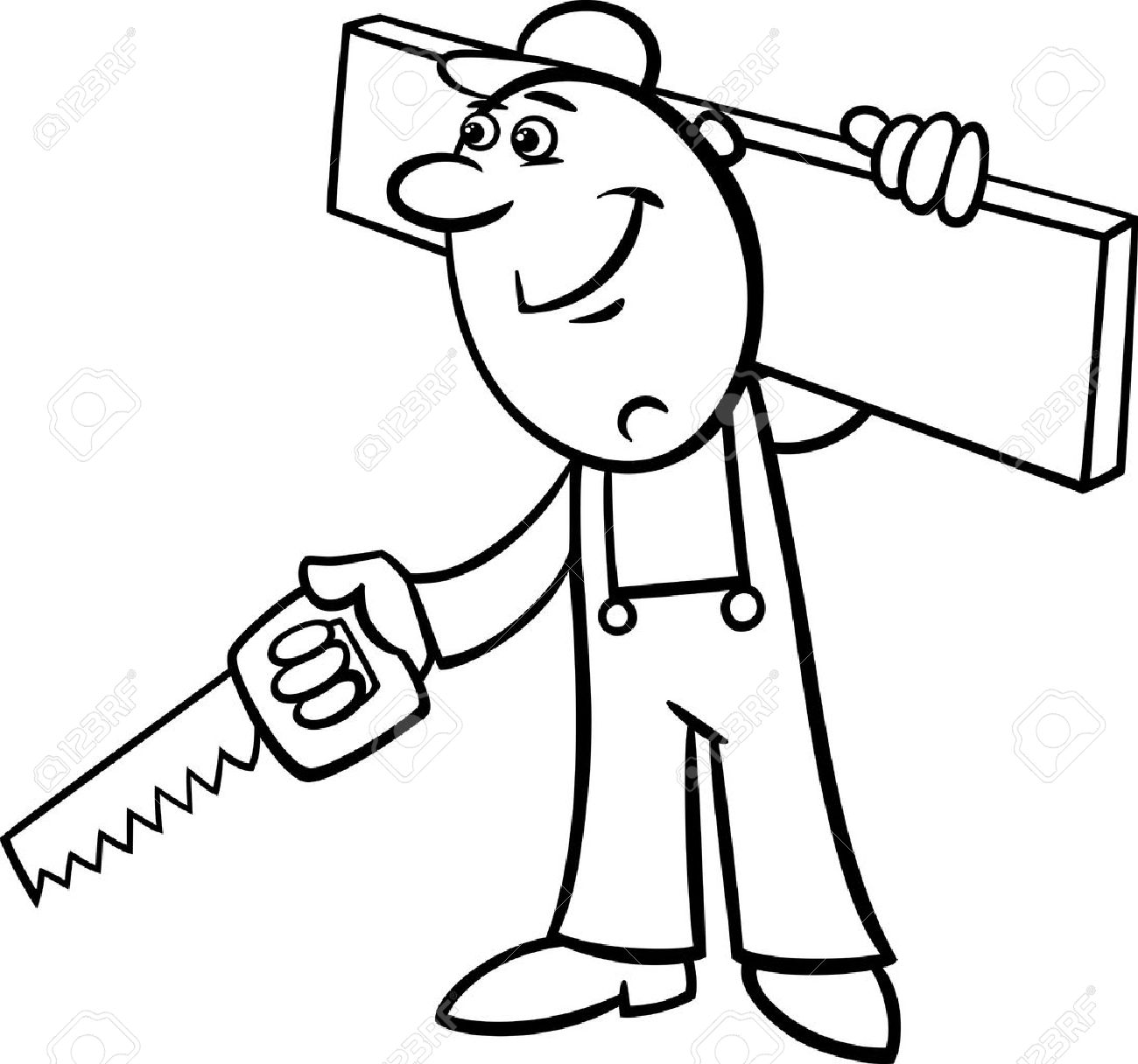 1300x1216 Black And White Cartoon Illustration Of Worker With Saw And Plank