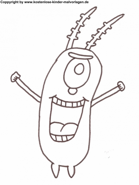 580x770 Spongebob Coloring Pages Plankton Cartoon Button