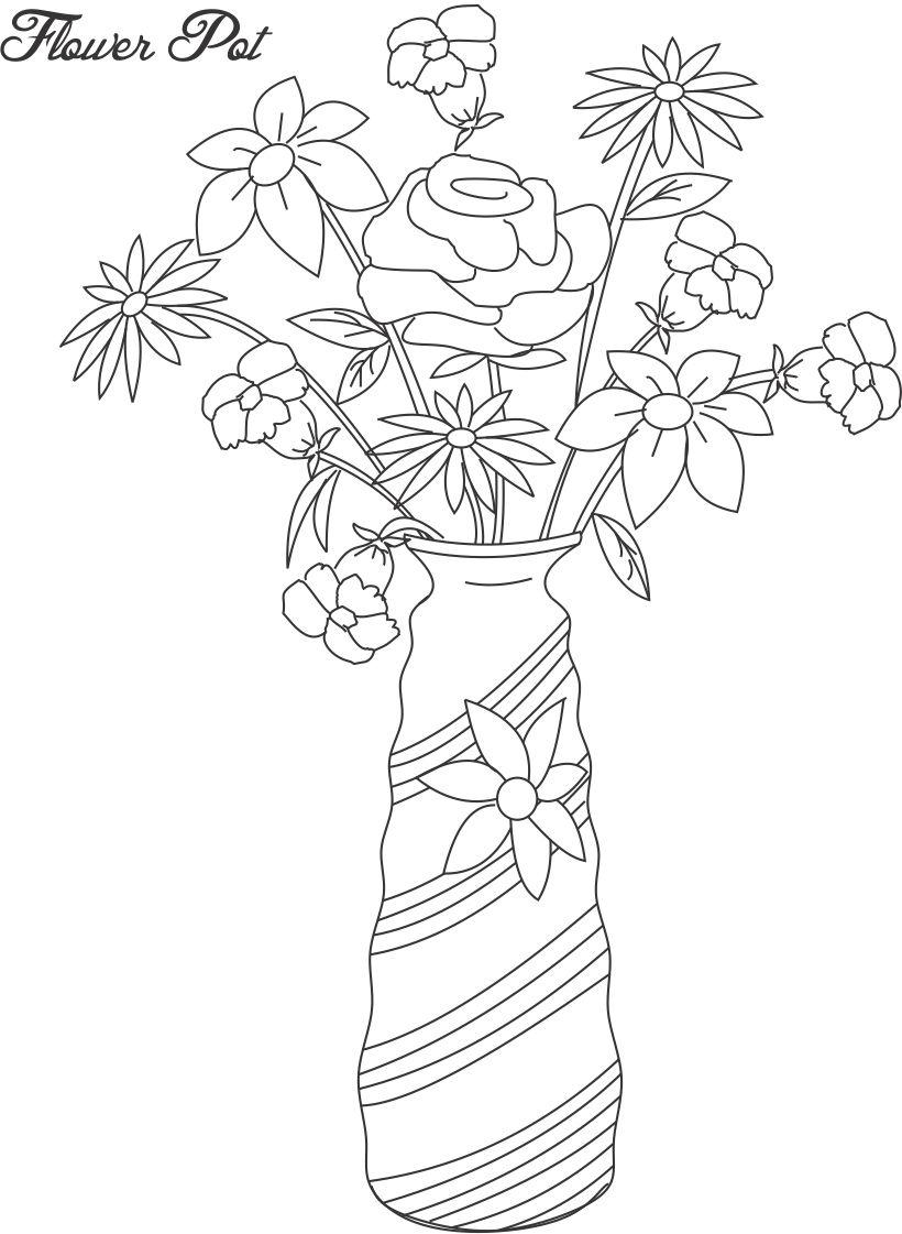 820x1121 Flower Pot In Drawings Drawn Pot Plant Coloring Page