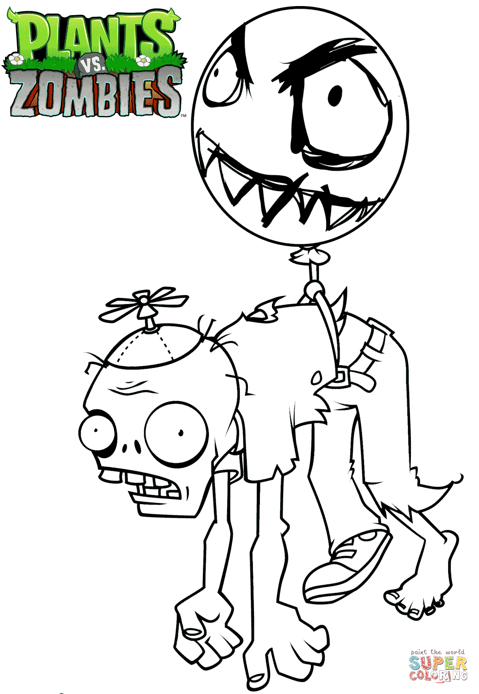 949x1374 Plants Vs Zombies Balloon Zombie Coloring Page Free Printable