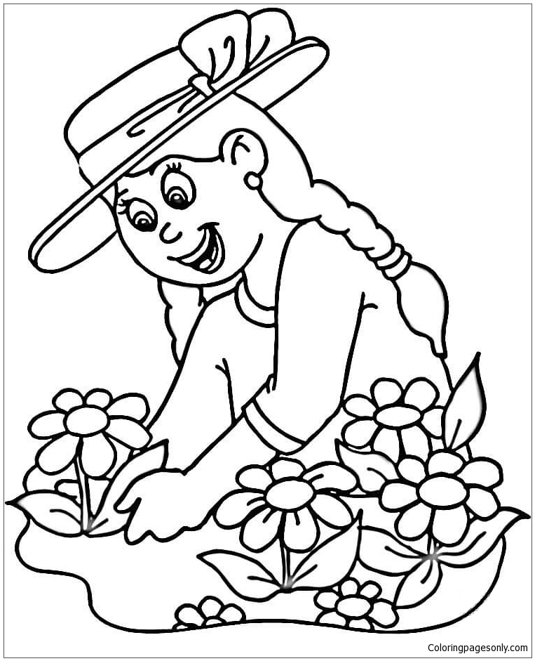 763x941 Girl Planting Flowers Coloring Page