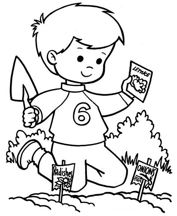 600x734 Kids Planting Vegetable Seed On Springtime Coloring Page