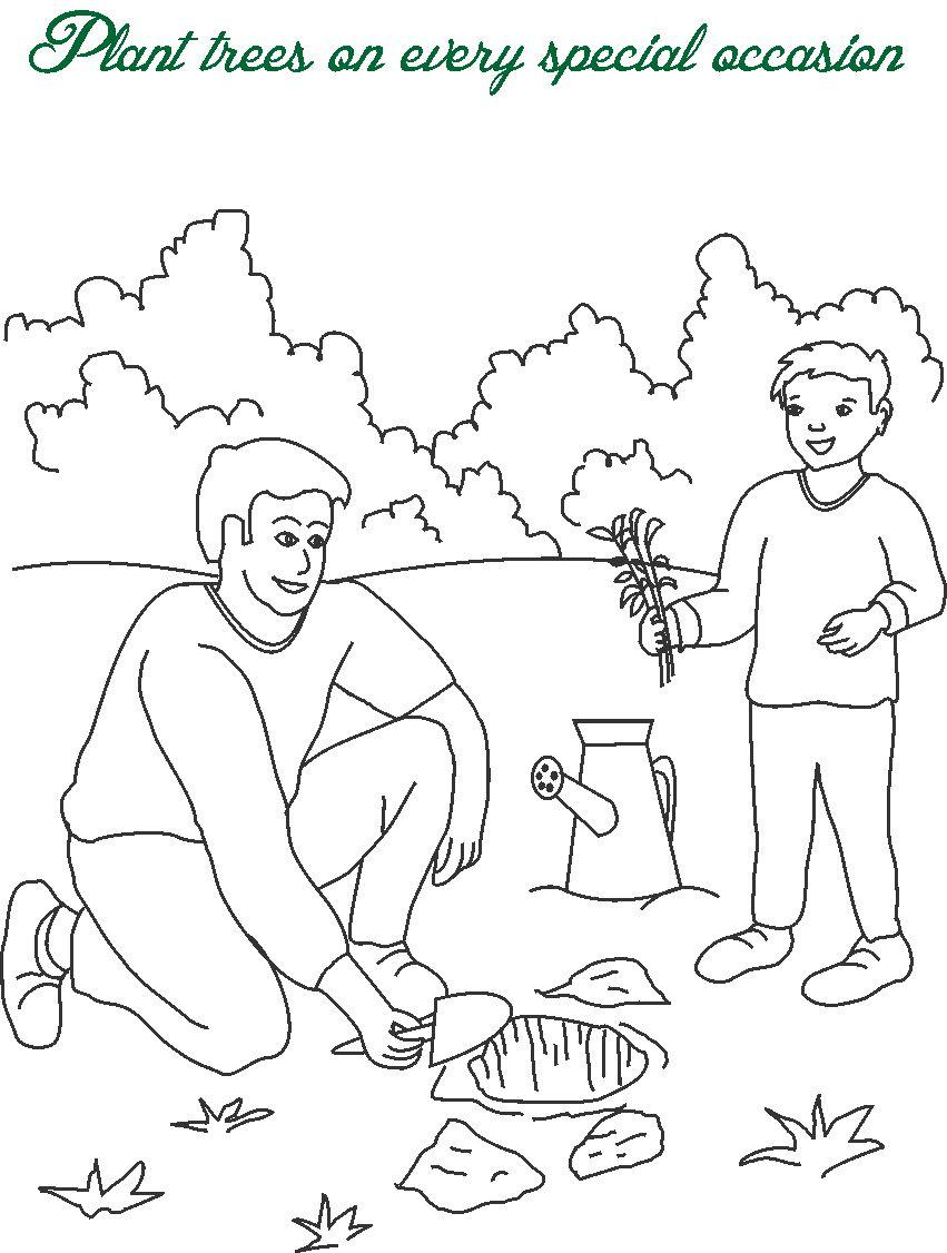 851x1126 Plant Trees Printable Coloring Page For Kids