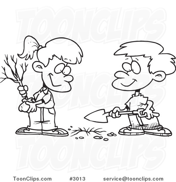 581x600 Cartoon Blackd White Line Drawing Of A Boyd Girl Planting