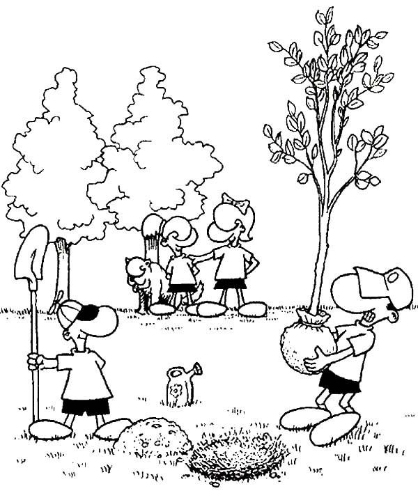 600x718 Planting Trees In The Garden On Arbor Day Coloring Pages Best