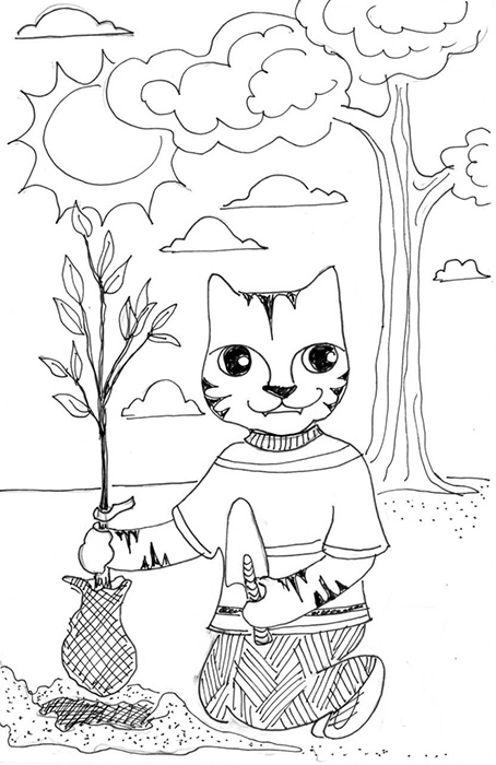 454x700 What A Cat! Planting A Tree! The Crafty Sisters