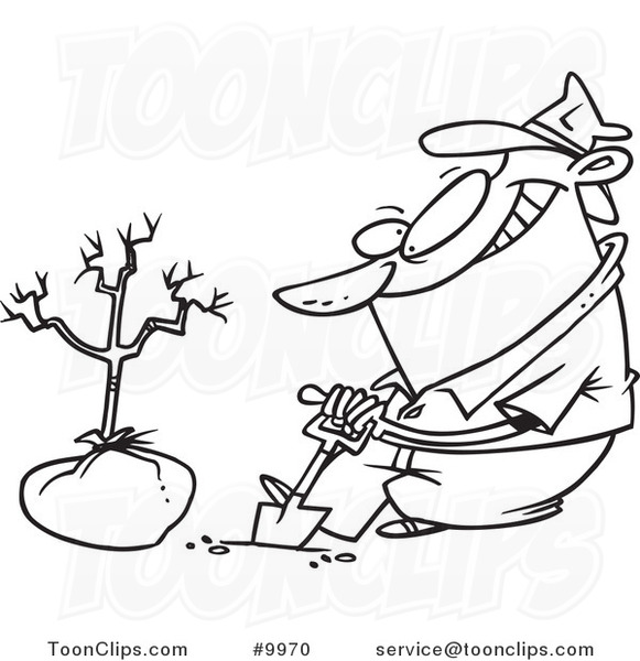 581x600 Cartoon Black And White Line Drawing Of A Guy Planting A Tree