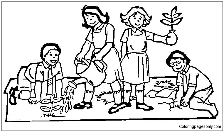 763x450 Children Of The World Do Planting Tree Coloring Page