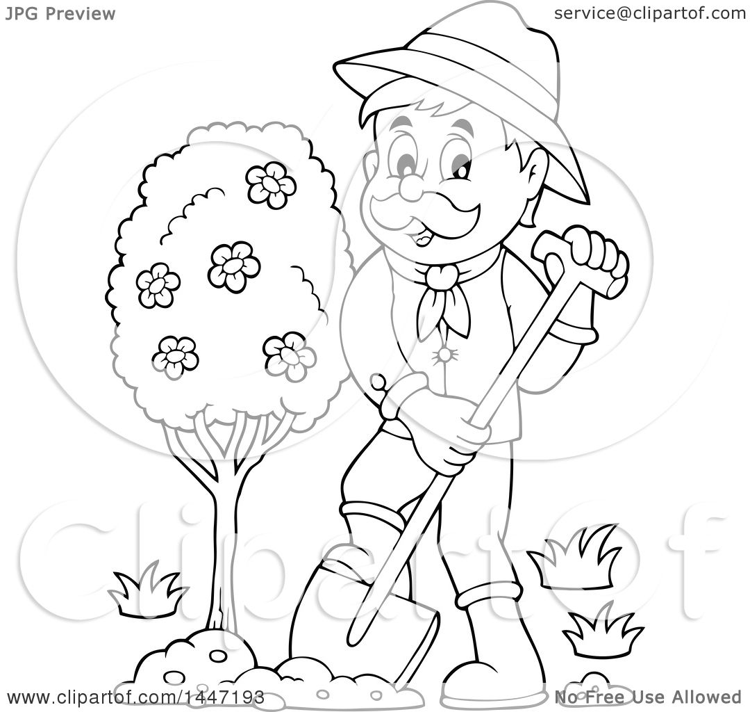 1080x1024 Clipart Of A Black And White Lineart Male Gardener Planting A Tree